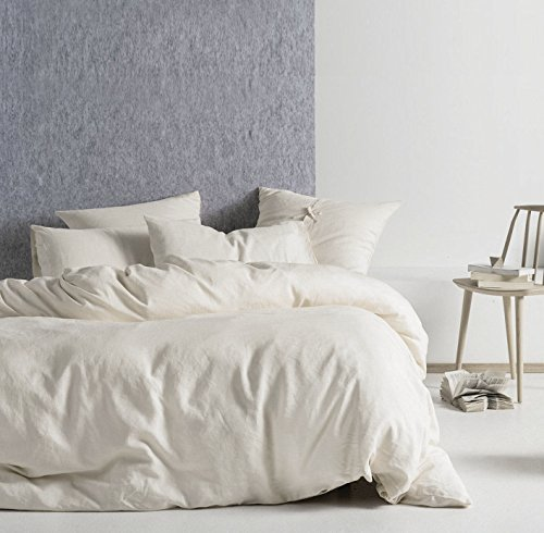 Eikei Washed Cotton Chambray Duvet Cover Solid Color Casual Modern Style Bedding Set Relaxed Soft Feel Natural Wrinkled Look (Queen, Subtle Cream)