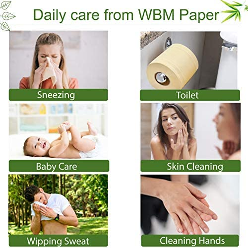 WBM Care Natural Bamboo Toilet Paper Unbleached|Hypoallergenic for Sensitive Skin | Plastic, Tree & Lint Free | Eco-Friendly - 3 Ply Bath Tissue, 208 Sheets/Each | 10 Rolls, |