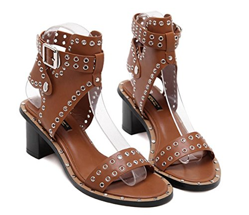 Party Shoes High Toe Stiletto Strap Strappy Sandal Ankle Ladies MNII Rome Black Light Fashion Womens Open Size Heel Banquet Brown Metal summer qa0Xw