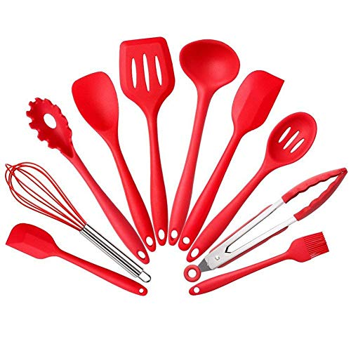 HahaHome Silicone Cooking Utensil Set 10 PCS Heat-Resistant Non-Stick Kitchen Utensils-Kitchen Tools Set-Hygienic One Piece Design Spatulas, Serving and Mixing Spoons (Black)