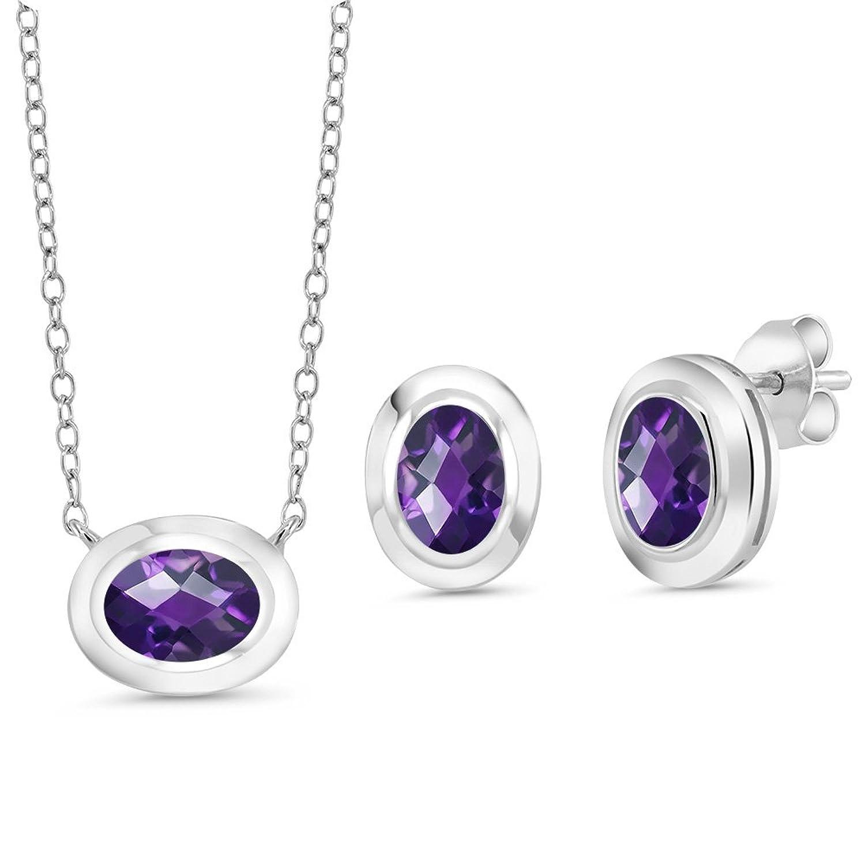 2.25 Ct Oval Checkerboard Purple Amethyst 925 Silver Pendant Earrings Set