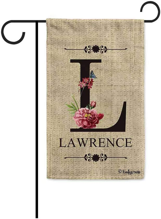 KafePross Welcome Spring Summer Flowers Monogram L Decorative Garden Flag Customized Your Last Name and Initial Letter Home Decor Banner for Outside 12.5X18 Inch Print Double Sided