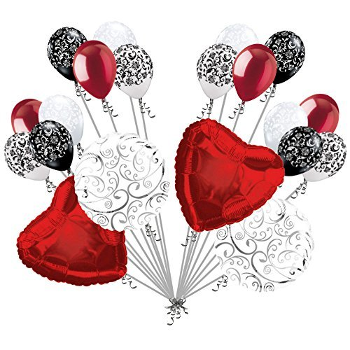 20 pc Red Hearts & Swirls Balloon Bouquet Wedding Baby Shower Bridal -