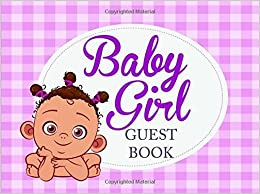 Baby Girl Guest Book: Baby Shower Guest Book for Girls, Naming Day Gift for Girls, Christening, Baptism (Ethnic Baby Purple Book)