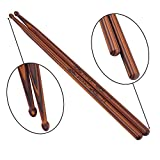 #1: KingPoint 7A Wood Drum Sticks Tip Percussion Musical Drumsticks (1 pairs of Roasted Hard Maple)