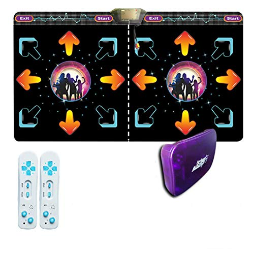 Skiout Wireless Double Dance Mats with Gamepad Dancing Blanket Dance Music Mixer Electronic Musical Play Mat for Adults/Children Tv Computer,B