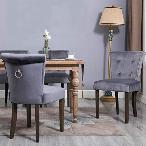 FLIEKS Dining Chairs Upholstered Tufted Parsons Chair Modern Accent Chairs with Nailhead Trim and Back Ring, Set of 2, Dark Gray