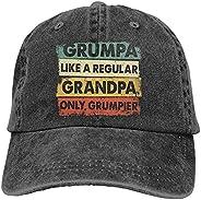Grumpa Like A Regular Grandpa Mens Womens Baseball Cap Funny Cowboy Hat Vintage Trucker Dad Hat Black