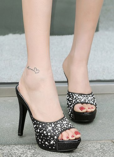 Aisun Women's Chic Platform Sequins High Stilettos Mule Sandals Black CAxkBtXi