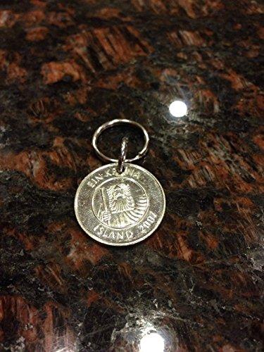 Iceland 1 kronur coin keychain