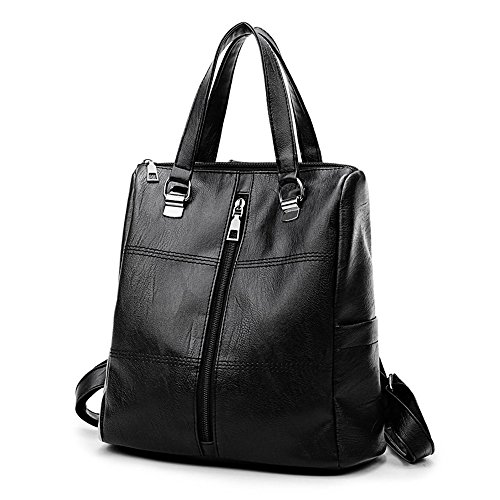Goddessvan Vintage Girl Leather Zipper School Bag Backpack Satchel Women Travel Shoulder Bag Black