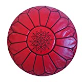 Moroccan Handmade leather pouf ottoman round footstool color Red stitched in black Unstuffed