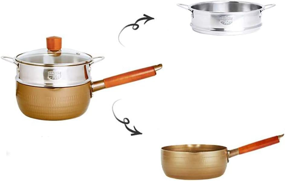 18CM golden snow frying pan with lid non-stick noodle pot milk pot soup pot deep fryer household small fryer with steamer (Size: 7.1 inches long x 2.9 inches high)