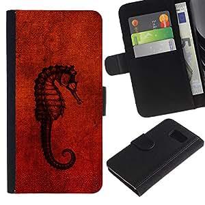 Billetera de Cuero Caso Titular de la tarjeta Carcasa Funda para Samsung Galaxy S6 SM-G920 / Seahorse Red / STRONG