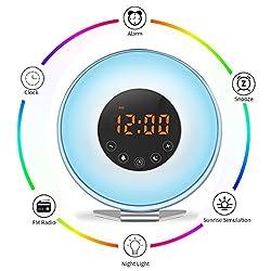 SveBake Sunrise Alarm Clock Wake Up Light - Sunset Simulation Digital Youth Alarm Clock with 6 Nature Musics, FM Radio, 7 Color Lights for Bedside-Gift