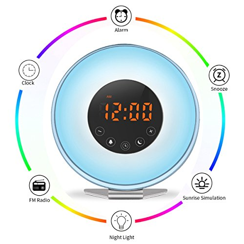 SveBake Wake Up Light Digital Alarm Clock with Sunrise Sunset Simulation, Soothing Led Clock with 6 Nature Musics, FM Radio, Touch Control with Snooze Function,7 Color Lights for Heavy Sleepers