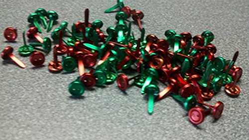 Recollection Button Brads - Metallic Reds and Greens