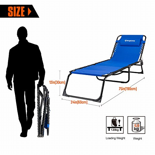 KingCamp Patio Lounge Chair Chaise Bed 3 Adjustable Reclining Positions Steel Frame 600D Oxford Folding Camping Cot with Removable Pillow for Camping Pool Beach Supports 300lbs by KingCamp (Image #1)