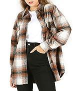 Qiaomai Women's Flannel Plaid Shirt Loose Lapel Button Up Brushed Shacket Overshirt