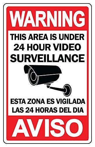 CCTV Señal de advertencia seguridad vigilancia cámara de vídeo Audio Español/Inglés