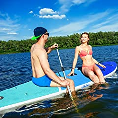 """Our All Around iSUP great for all skilled level paddlers paddling, kayaking, yoga, surfing in flat water, river runs and waves ect.Specification:11 FT Dimension: 11' x 32"""" x 6"""" Board Weight: 21.6 lbs Rider Weight: Up to 375 lbsHighlights:Ener..."""