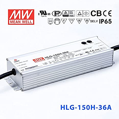 LED Driver 122.4W 36V 3.4A HLG-120H-36A Meanwell AC-DC SMPS HLG-120H Series MEAN WELL C.V+C.C Power Supply
