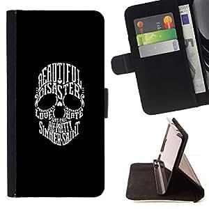 Momo Phone Case / Flip Funda de Cuero Case Cover - TIPOGRAFÍA CRÁNEO - DESASTRE HERMOSA - Samsung Galaxy S3 III I9300