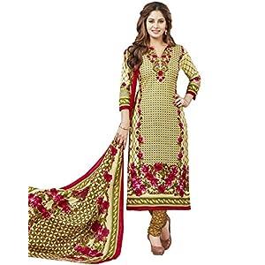 Jevi Prints Women's Unstitched Pure Cotton Beige & Brown Floral Printed Salwar Suit Dupatta Material (S-1728)