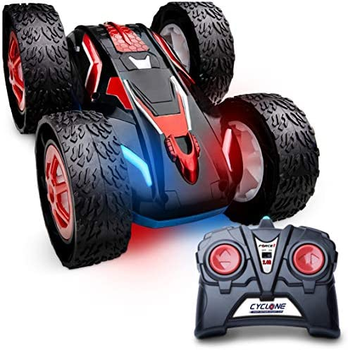 Force1 Cyclone Remote Control Car for Kids - Double Sided Fast Off Road Stunt Car, RC Rock Crawler Toy Car for Boys and Girls with 2 Rechargeable Toy Car Batteries