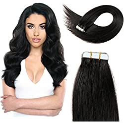 20 inch Straight Tape Hair Extensions Double Side Tape in Remy Human Hair Extensions 20pcs 50g/pack (#1B) Off Black