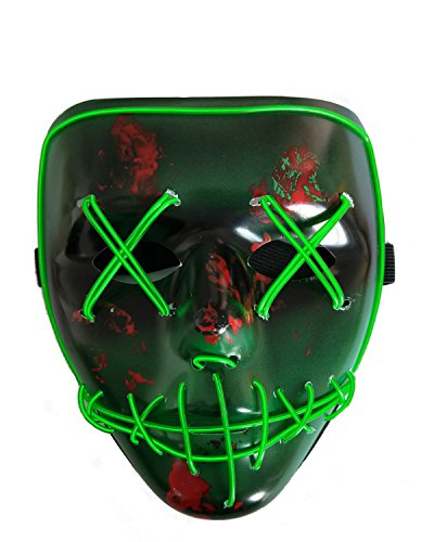 Baby Led Halloween Costume (Halloween Scary Mask Cosplay Led Mask EL Wire Light up for Festival Costume Party)