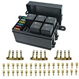 12-Slot Fuse Relay Box,6 Relays,6 ATC/ATO Fuses Holder Block with 41pcs Metallic Pins for Automotive and Marine Engine Bay