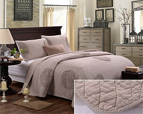 3pcs Dot Bedding Quilted Bedspread Coverlet Pillowcase Set Champagne Queen Oversized (Orange Quilted Bedspread compare prices)