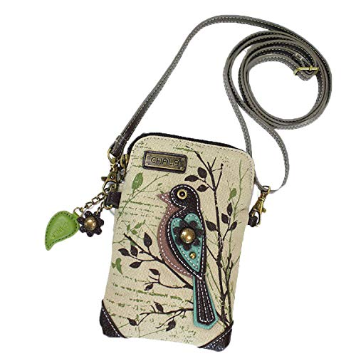 Chala Crossbody Cell Phone Purse - Women Canvas Multicolor Handbag with Adjustable Strap (Bird - Safari -