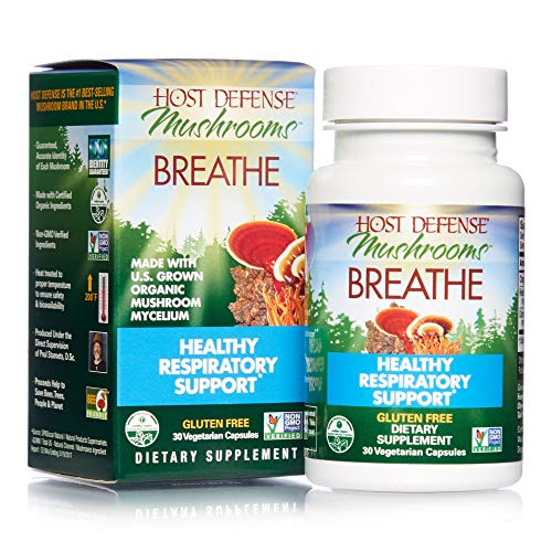 Host Defense, Breathe, 30 Capsules, Respiratory Support, Mushroom Supplement with Cordyceps, Reishi and Chaga, Vegan, Organic, Gluten Free, 15 Servings