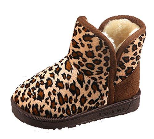 Cattior Toddler Little Kid Leopard Fashion Winter Boots Shoes Kids Snow Boots (8 M, Deep Leopard)