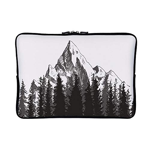 DKISEE Abstract Mountain with Fir Forest Trees Neoprene Laptop Sleeve Case Waterproof Sleeve Case Cover Bag for MacBook/Notebook/Ultrabook/Chromebooks