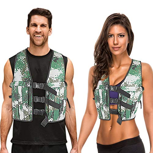 Adjustable Weighted Vest with 16 PCS Pockets for Man and Woman, 0-44 LBS, Camouflage Weight Vests for Running, Cross Training, Aerobic Exercise, Sprints, Push ups, Sit-ups, Powerlifting