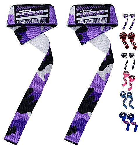 EMRAH Lifting Straps (PAIR) - Weightlifting Hand Bar Wrist Support Hook Wraps, Wrist Supports Assist Grip Strength Weight Lifting Straps for Bodybuilding, Power Lifting (Camo Purple, Standard) (Lifting Standard)