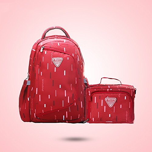 Bolso de la momia, multi-función aumentar la capacidad de la bolsa de hombro, bolsa de la madre de la moda, la madre y el niño mochila ( Color : Rosa Roja ) Rojo