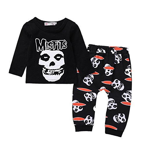 Xmas gift Toddler Baby Boys Girls Clothes Kid Newborn Long Sleeve Skull Bone Print T-Shirt Tops Pants Outfit Set (Toddler Baby Boys Girls Halloween Clothes, 90(12-18 Months))