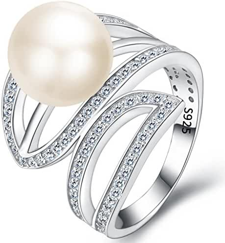 EVER FAITH 925 Sterling Silver CZ 10MM AAA Freshwater Cultured Pearl Leaf Cocktail Ring Clear