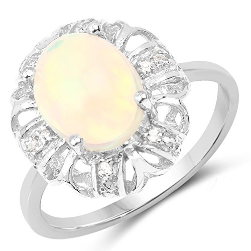 FB Jewels 1.73 Carat Genuine Ethiopian Opal and White Topaz 925 Sterling Silver Birthstone Ring Size ()