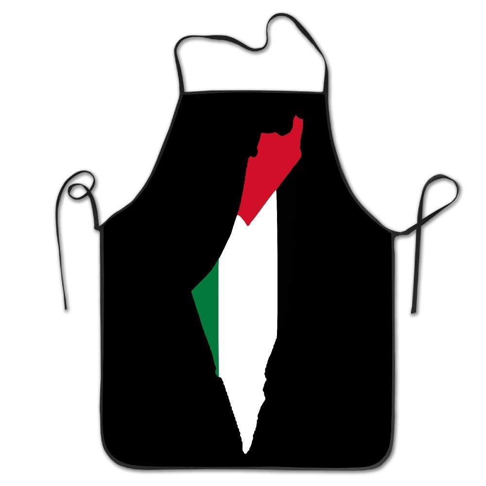 amiuhoun 国旗 パレスチンの地図 レディース メンズ キッチン ビブエプロン ベーカリー コーヒー ショップ 調節可能なネックシェフエプロン   B07GQXRTXJ