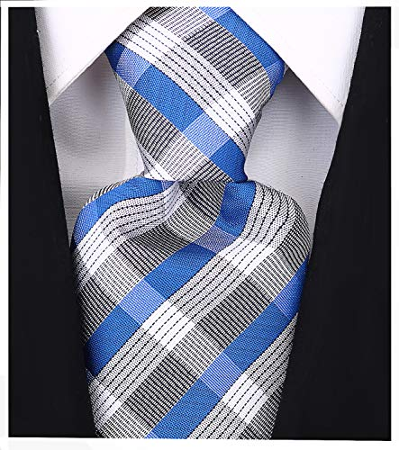 Check Stripe Ties for Men - Woven Necktie - Blue
