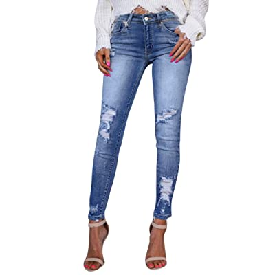 HENWERD Casual Skinny Ripped Jeans for Women Teen Girls Distressed Comfy Denim Pants at Women's Clothing store [5Bkhe1104838]