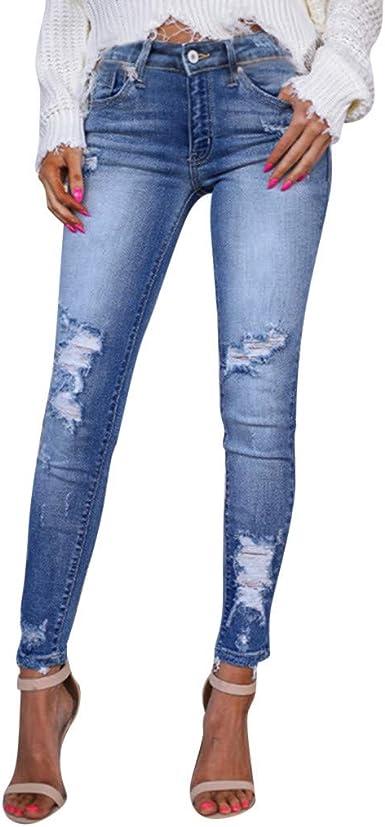 Vaqueros Rotos Mujer Pantalones Lapiz Ajustados Pantalones Largos Casual Cintura Alta Pantalones Pitillos Elasticos Push Up Skinny Jeans De Mujer Adelgazados Otono Invierno Risthy Amazon Es Ropa Y Accesorios