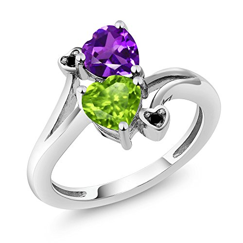 1.51 Ct Heart Shape Green Peridot Purple Amethyst 925 Sterling Silver Ring -