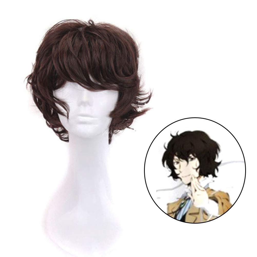 Raleighsee Bungo Stray Dogs Anime Cosplay Wig Dazai Osamu Dark Brown High Temperature Wire Juvenile Anti-Warping Wig Anime Fans Gift