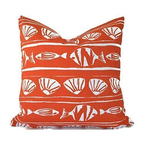 Outdoor Decorative Throw Pillow Cover Any Size OD Caicos Orange